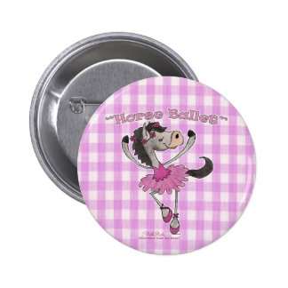 Horse Ballet on Pink Gingham 6 Cm Round Badge