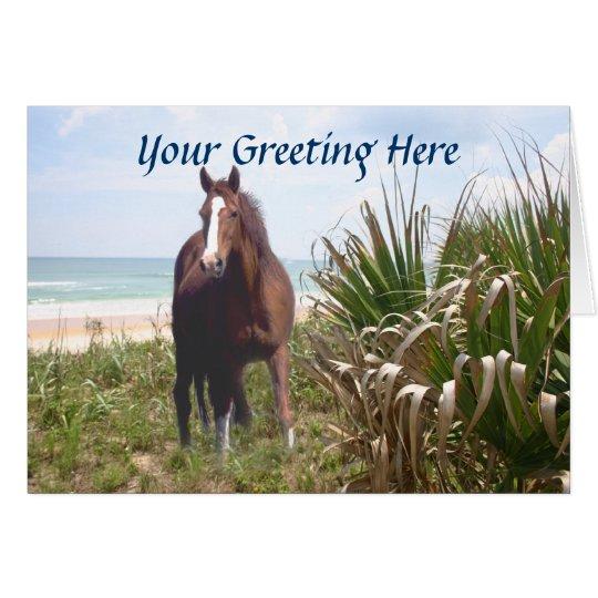 Horse Beach Grass and Ocean Greeting Card