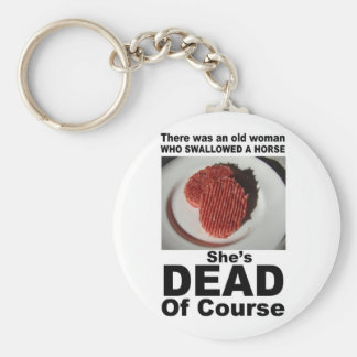 Horse beef burger scandal joke basic round button key ring