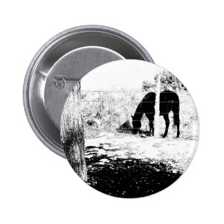 Horse Behind Fencepost in Pen and Ink 6 Cm Round Badge