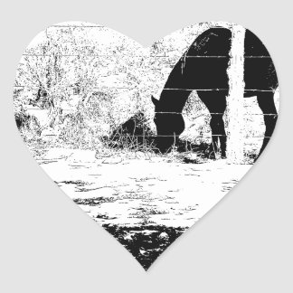 Horse Behind Fencepost in Pen and Ink Heart Sticker