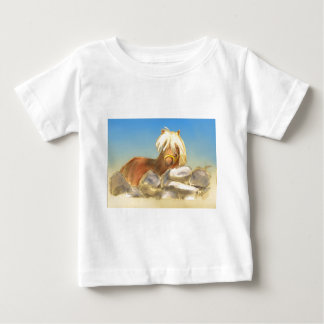 horse behind the stone wall baby T-Shirt