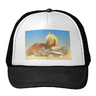 horse behind the stone wall cap