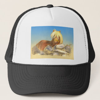 horse behind the stone wall trucker hat