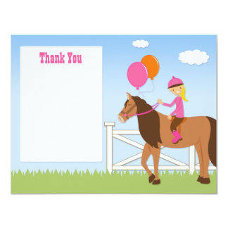 "Horse Birthday Party Thank You Card 4.25"" X 5.5"" Invitation Card"