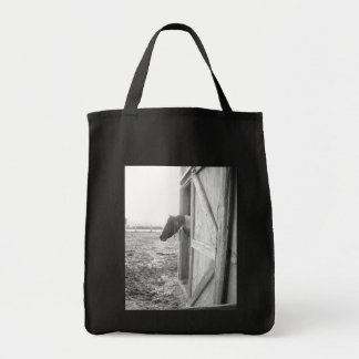 Horse Black and White Photography Canvas Bags