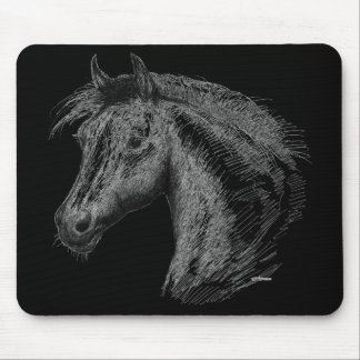 Horse:  Black Mouse Pad