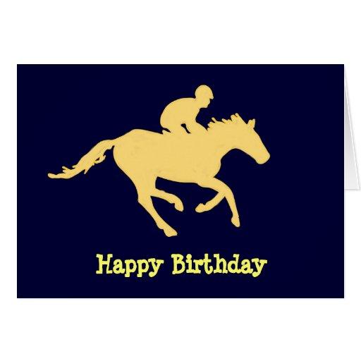 Horse Blue and Cream Birthday Card