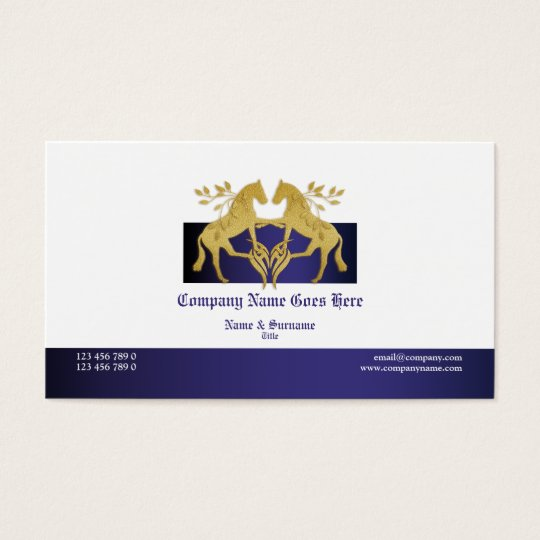 Horse business profile marketing gold white business card