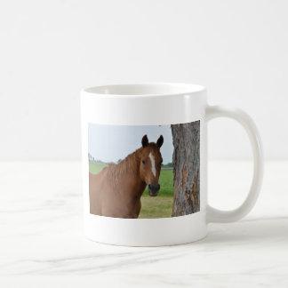 Horse by Tree Coffee Mugs