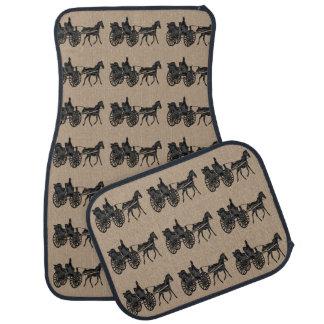 horse carriage brown black floor mat
