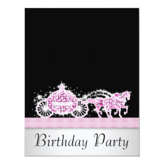 Horse Carriage Pink Black Princess Birthday Party 11 Cm X 14 Cm Invitation Card