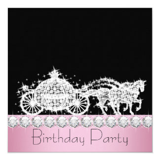 Horse Carriage Pink Princess Birthday Party 13 Cm X 13 Cm Square Invitation Card