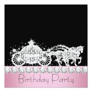 Horse Carriage Pink Princess Birthday Party Custom Invitation