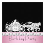 Horse Carriage Pink Princess Birthday Party Custom Invite