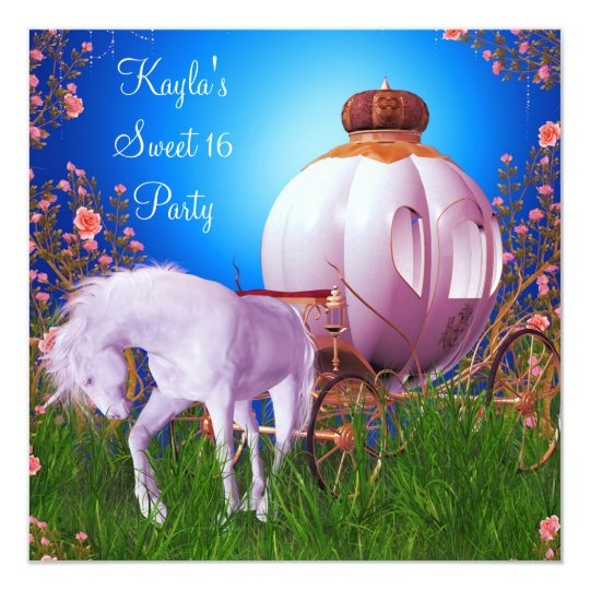 Horse Carriage Princess Birthday Party Card