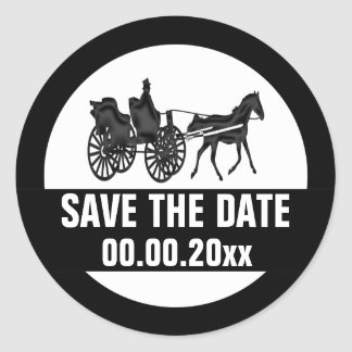 Horse carriage save the date BW Round Sticker