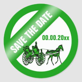 Horse carriage save the date GW Classic Round Sticker