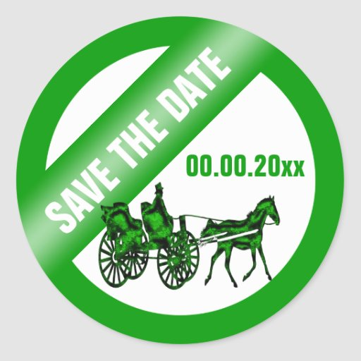 Horse carriage save the date GW Sticker