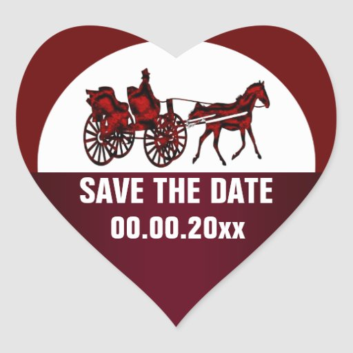 Horse carriage save the date HEART Sticker