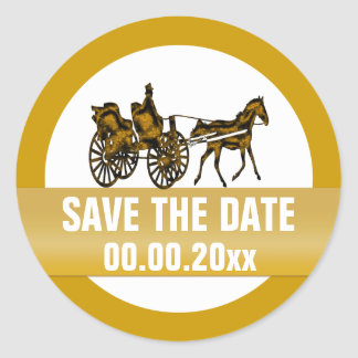 Horse carriage save the date round sticker