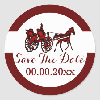 Horse carriage save the date RW Round Sticker