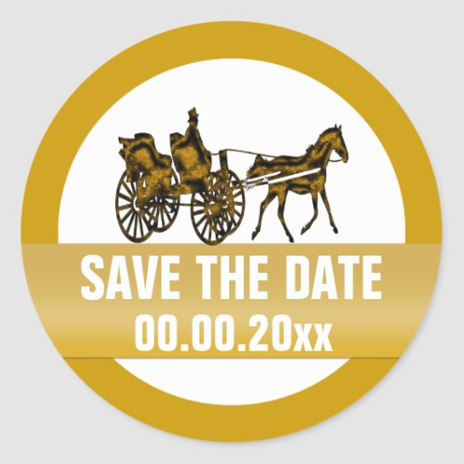 Horse carriage save the date round stickers