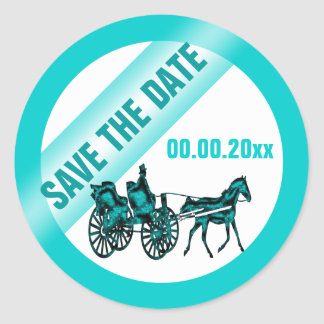Horse carriage save the date TW Round Sticker