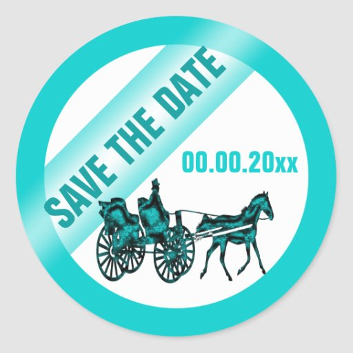 Horse carriage save the date TW Round Stickers