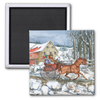 Horse & Carriage Square Magnet