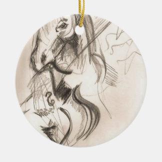 Horse Cello Drawing Design Christmas Ornament