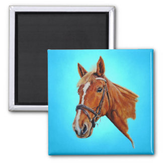 Horse, chestnut mare with a white blaze, painting. square magnet