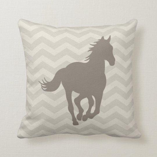 Horse Chevron Pattern Taupe Grey Cream Cushion