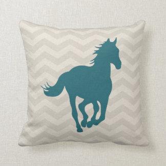 Horse Chevron Pattern Teal Green Grey Cream Throw Cushions