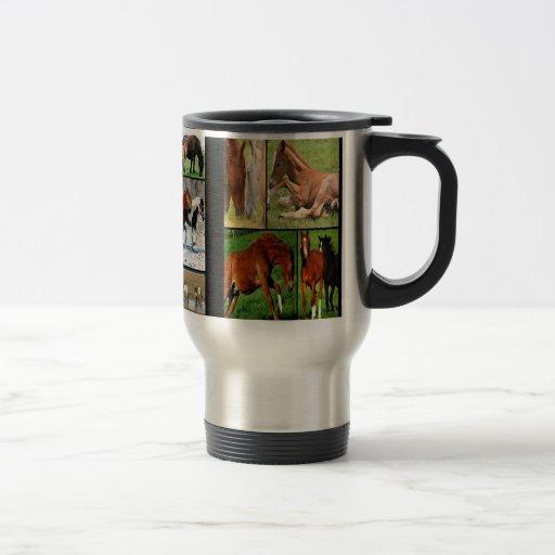 Horse collage print mug