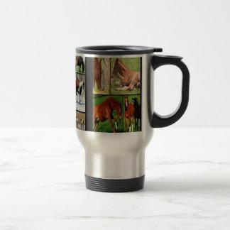 Horse collage print stainless steel travel mug