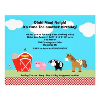 Horse Cow Pig Barnyard Birthday Invitations