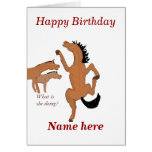 Horse Dancing birthday card, add name front.