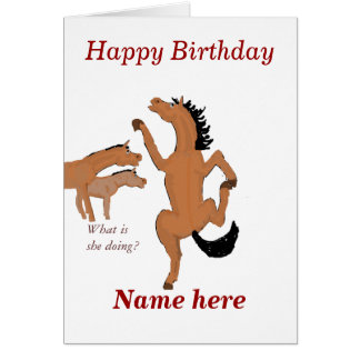 Horse Dancing birthday card, add name front. Greeting Card