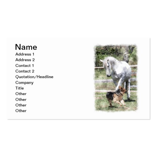 HORSE & DOG PLAY WATERCOLOR BUSINESS CARD