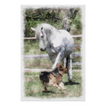 HORSE & DOG PLAY WATERCOLOR POSTER