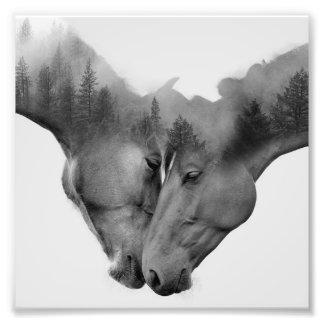 Horse double exposure -horses in love -wild horses photo print