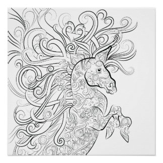 horse drawing adult colouring poster