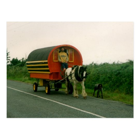 Horse drawn caravan, Co. Kerry, Ireland Postcard