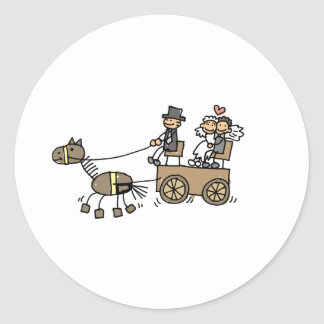 Horse Drawn Carriage For Weddings Round Sticker