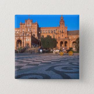 Horse drawn carriage in the Plaza de Espana in 15 Cm Square Badge