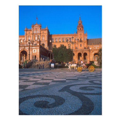 Horse drawn carriage in the Plaza de Espana in Post Cards