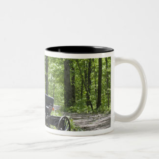 Horse drawn carriage tethered in woods Two-Tone coffee mug