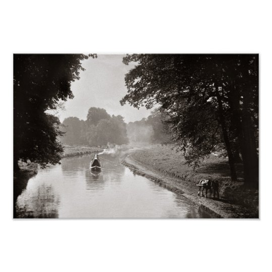 Horse drawn narrowboat Watford UK Poster