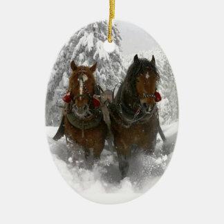 horse drawn sleigh christmas christmas ornament